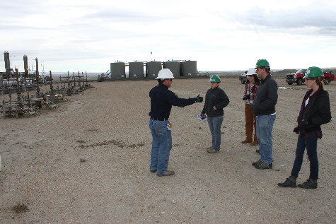 Students touring an Anadarko Petroleum gas well pad